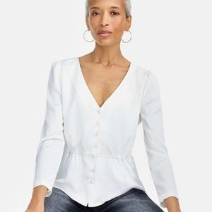 JCREW Long Sleeve Peplum Top in Satin-Crepe